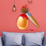 Easter Egg with Paint Brush Printed Die Cut Decal