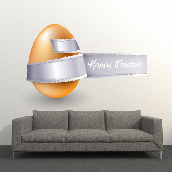 Happy Easter Illusion Tear Wrap Around Egg Sticker