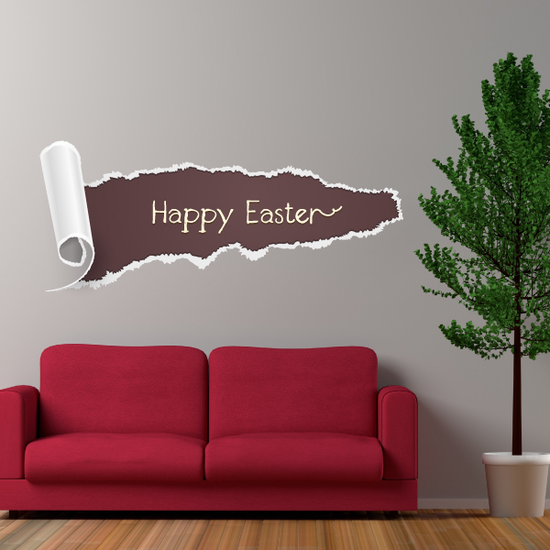 Happy Easter Illusion Horzontal Tear Sticker