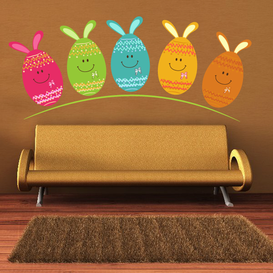 Smiling Easter Eggs with Bunny Ears Printed Die Cut Decal