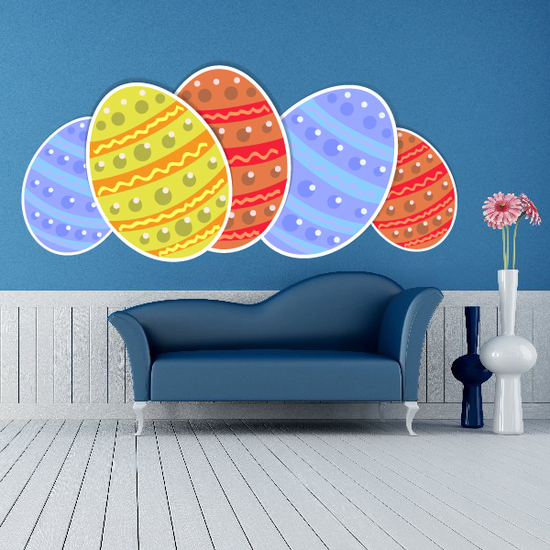 Painted Pattern Easter Eggs Sticker