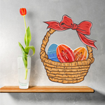 Dyed Easter Eggs in Basket Printed Die Cut Decal