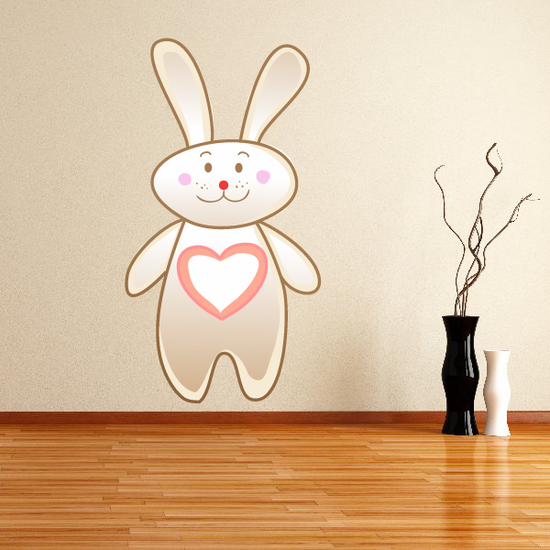 Cute Bunny with Heart Sticker