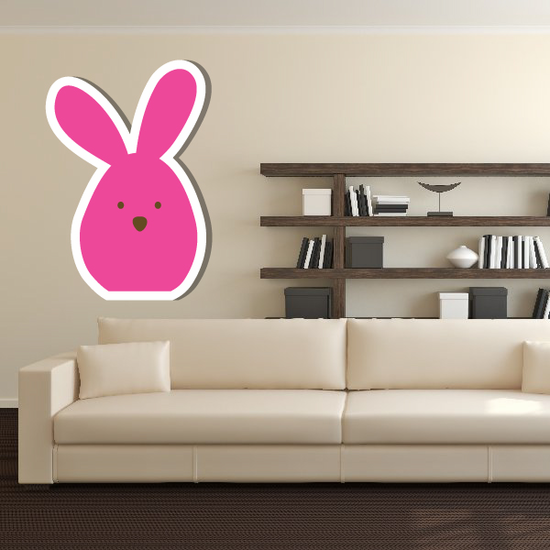 Rounded Cute Bunny Sticker