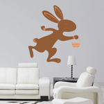 Easter Bunny Running with Basket Sticker