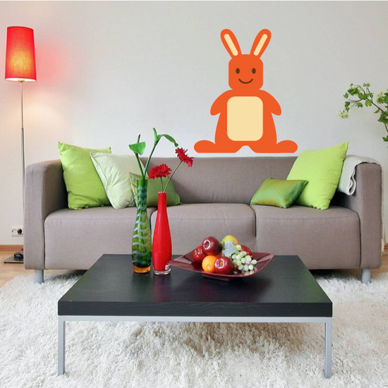 Cheerful Easter Bunny Standing Kids Sticker