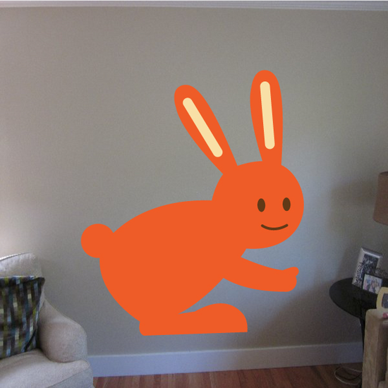 Hopping Cheerful Easter Bunny Sticker