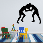 Two Grappling Wrestlers Decal