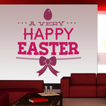 A Very Happy Easter with Color Ribbon Printed Decal