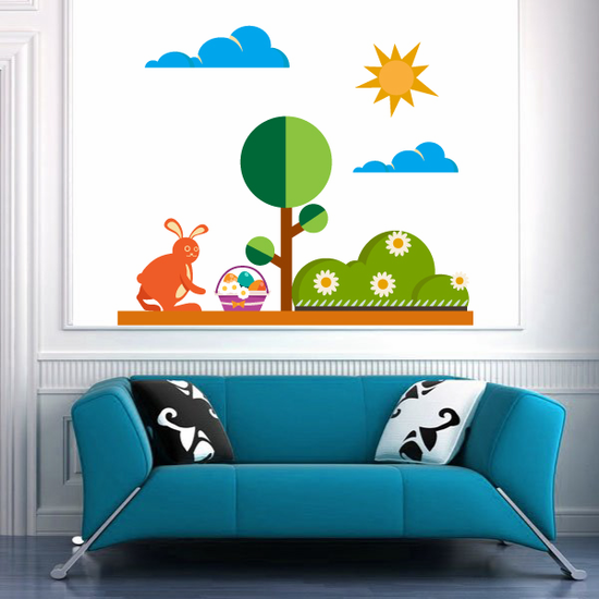 Easter Scenery Printed Die Cut Decal
