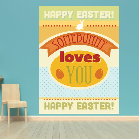 Charming Happy Easter Some Bunny Loves You Rectangle Sticker