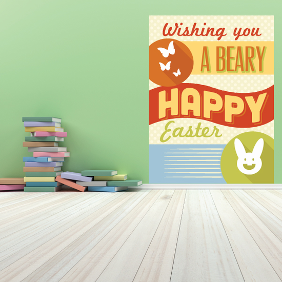 Wishing You A Beary Happy Easter Rectangle Sticker
