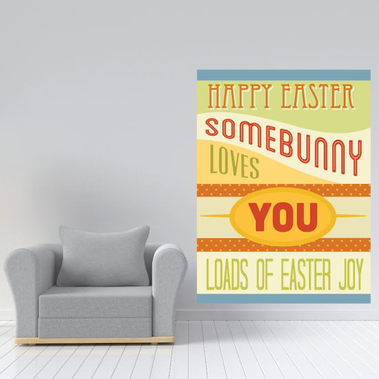 Joyful Happy Easter Some Bunny Loves You Rectangle Sticker