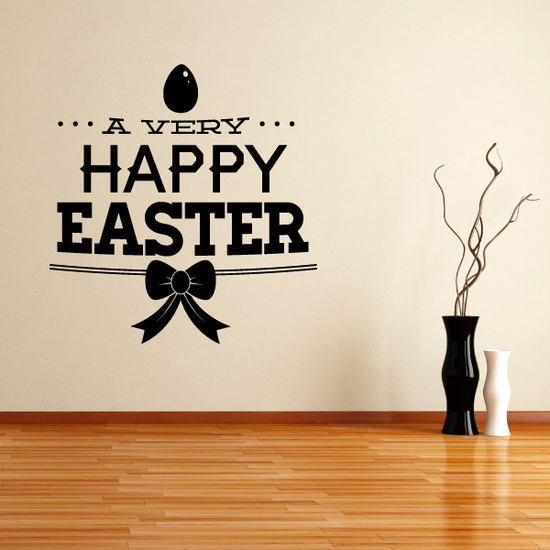 A Very Happy Easter Easter with Ribbon Decal