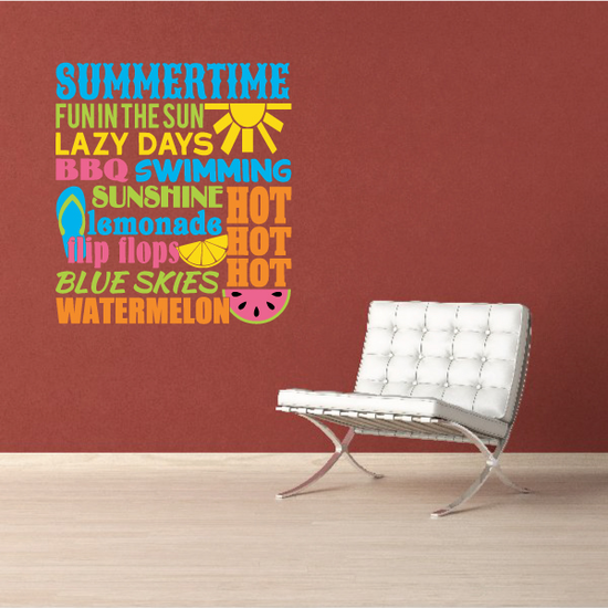 Summertime Word Collage Decal
