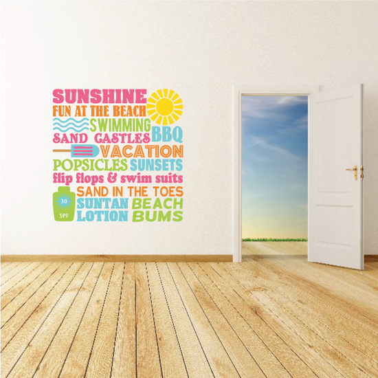 Summer Word Collage Decal