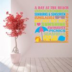 A Day At The Beach Word Collage Printed Die Cut Decal