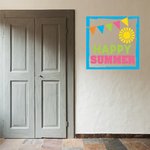 Happy Summer Printed Die Cut Decal