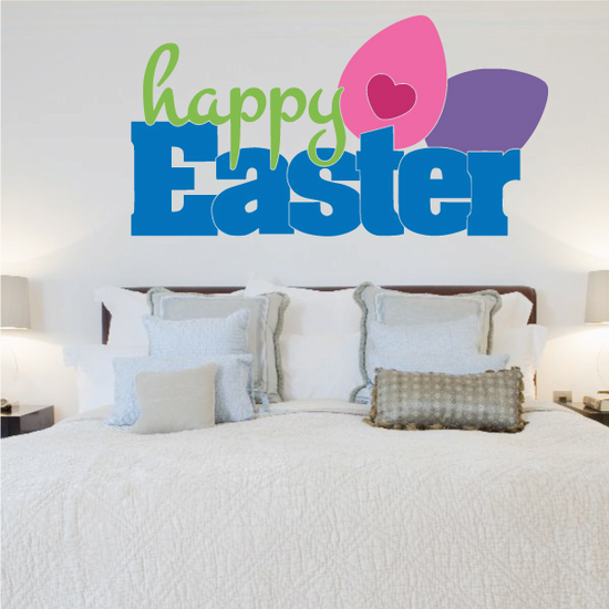Bold Happy Easter Colorful Eggs Printed Die Cut Decal