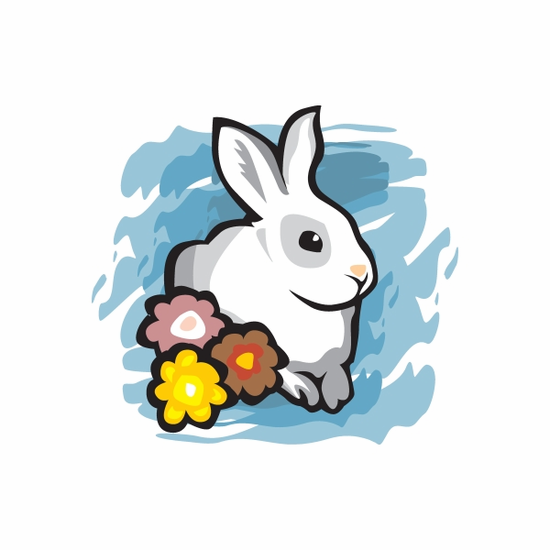 Easter Bunny with Flowers Sticker