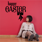 Happy Easter Text with Ribbon Decal