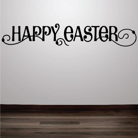 Happy Easter Decorative Swirl Text Decal