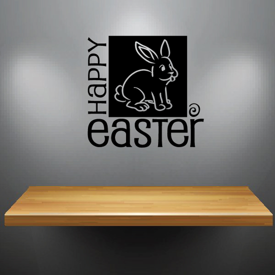 Happy Easter with Bunny Square Decal