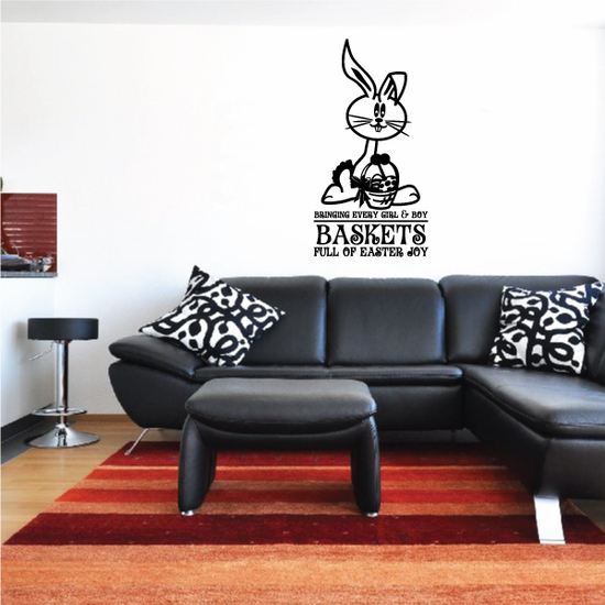 Bunny with Easter Basket Quote Decal