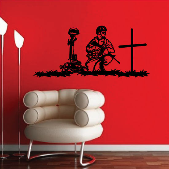 Soldier with Battlefield Cross Decal