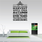Autumn Fall Word Collage Decal