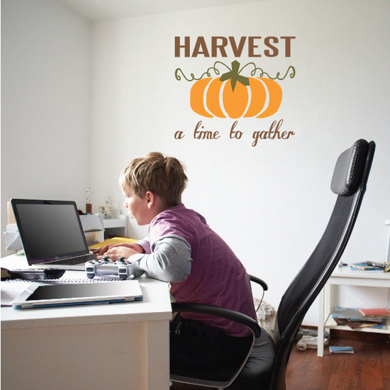 Harvest a Time to Gather Pumpkin Printed Die Cut Decal
