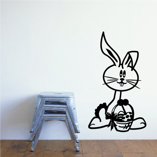 Cartoon Easter Bunny with Basket Decal
