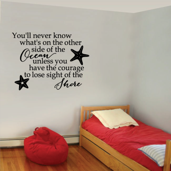 You'll Never Know What's On The Other Side Of The Ocean Unless You Have The Courage To Lose Sight Of The Shore Wall Decal