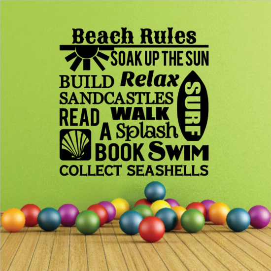 Beach Rules Word Collage Decal