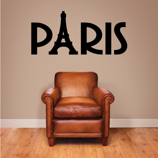 Paris Text and Eiffel Tower Decal