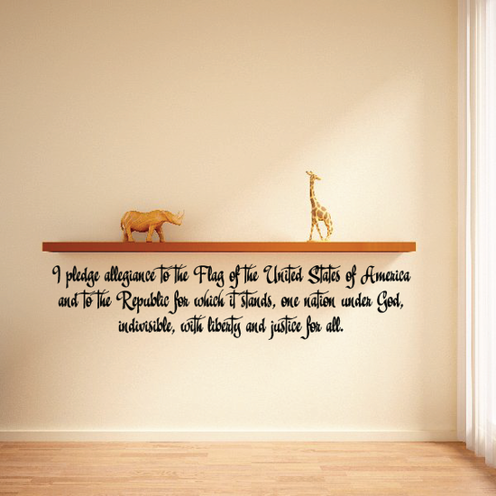 Pledge of Allegiance Quote Wall Decal