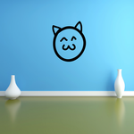 Cat Ears Smiley Emoticondoodle Wall Decal - Vinyl Decal - Car Decal - Id015