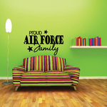 Proud Air Force Family Script with Stars Decal