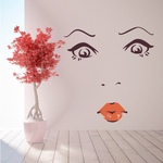 Face Expression Female Wall Decal - Vinyl Decal - Car Decal - Idcolor004