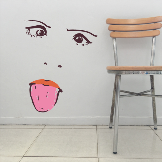 Face Expression Female Wall Decal - Vinyl Decal - Car Decal - Idcolor008
