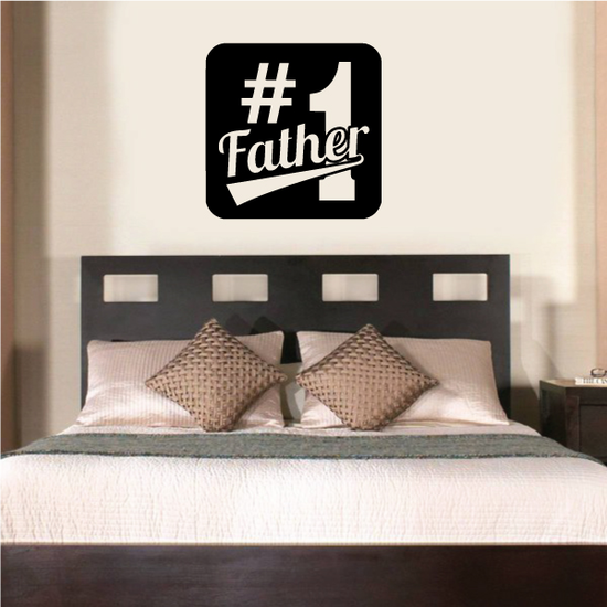 #1 Father Square Decal