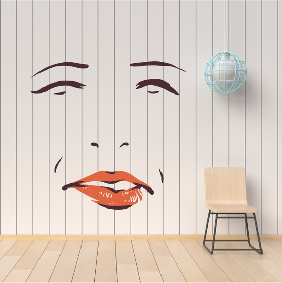 Face Expression Female Wall Decal - Vinyl Decal - Car Decal - Idcolor013