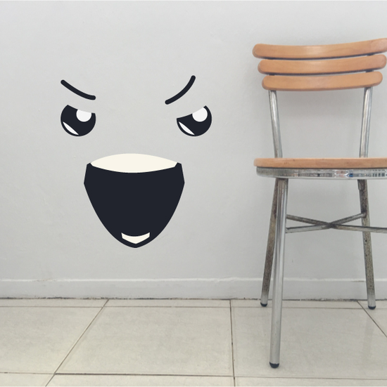 Furious Face Expression Wall Decal - Vinyl Decal - Car Decal - Idcolor009