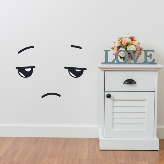 Tired Face Expression Wall Decal - Vinyl Decal - Car Decal - Idcolor014
