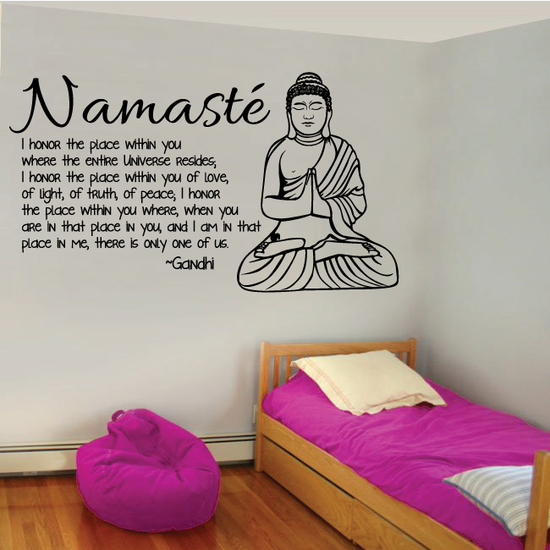 Namaste I honor the place within you when the entire universe Gandhi Wall Decal