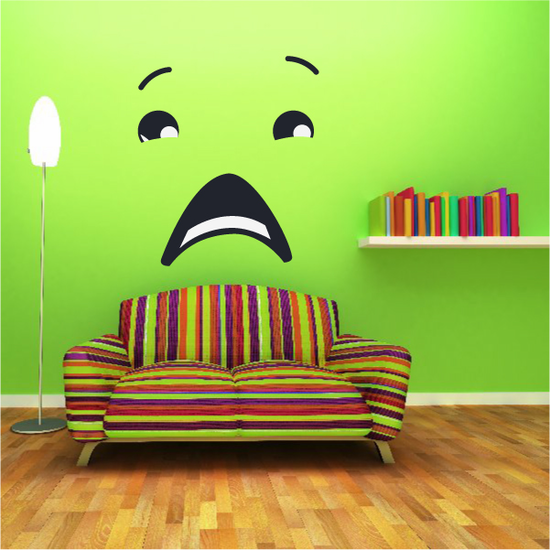 Scared Face Expression Wall Decal - Vinyl Decal - Car Decal - Idcolor039
