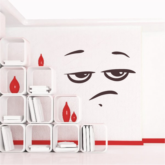 Annoyed Face Expression Wall Decal - Vinyl Decal - Car Decal - Idcolor062