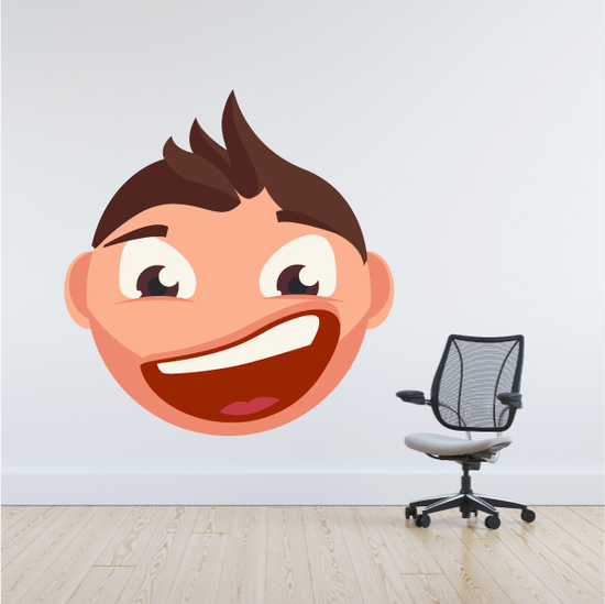 Male Face Emoticon Wall Decal - Vinyl Sticker - Car Sticker - IDCOLOR002