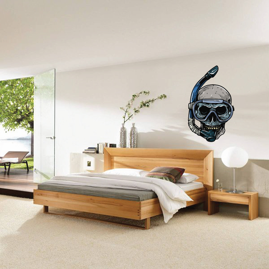 Snorkeling Skull Swimming Wall Decal - Vinyl Car Sticker - Uscolor001