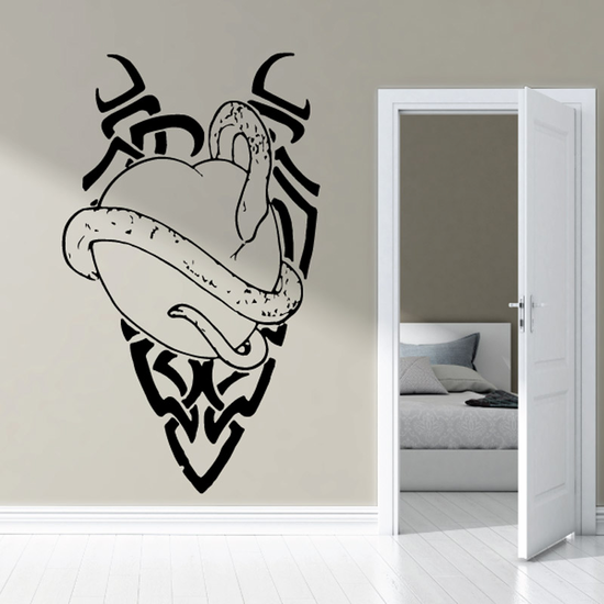 Snake Wrapped Around Heart Style Decal